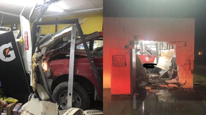 A truck crashed through a Dollar General in Hammond.