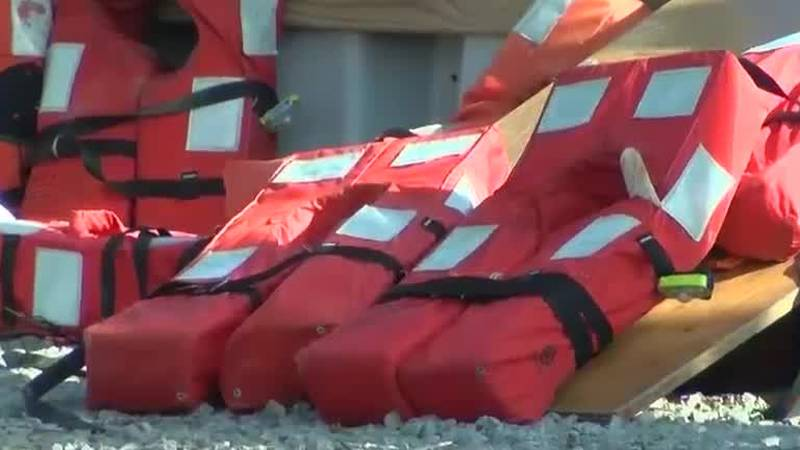 Seacor life vests, helmet debris
