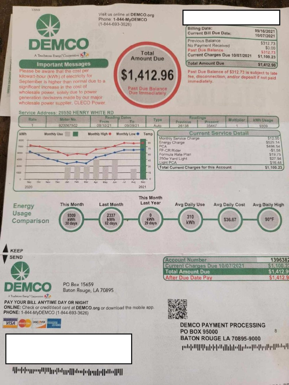 His bill in total he received from DEMCO was $1412.96.