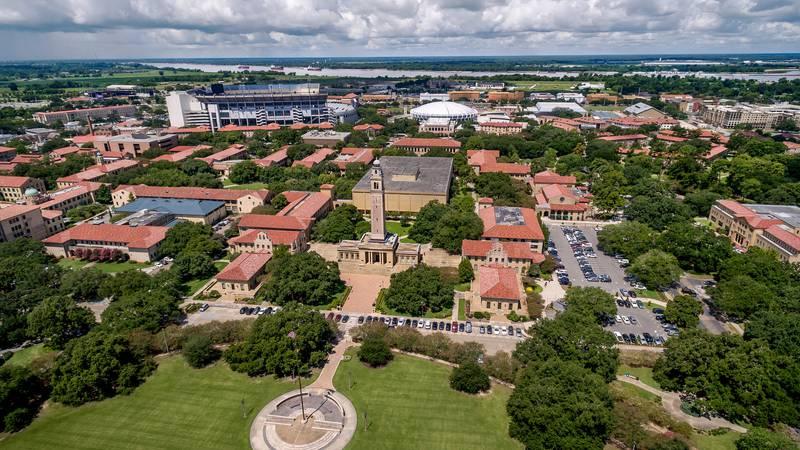 Aerial shot of the LSU campus