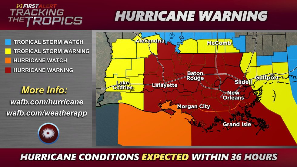 HURRICANE WARNING - Hurricane conditions expected within 36 hours, as of 4 p.m. Friday, Aug....