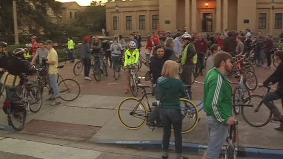 Hundreds gathered to take a memorial bike ride for Nathan Crowson.