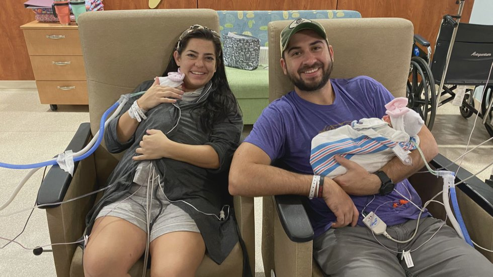 Erin and Jake Credo spent four weeks with their twin daughters inside the Woman's Hospital NICU.