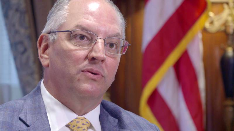 Louisiana Governor John Bel Edwards, (D), talks to Lee Zurik about the results of a joint...