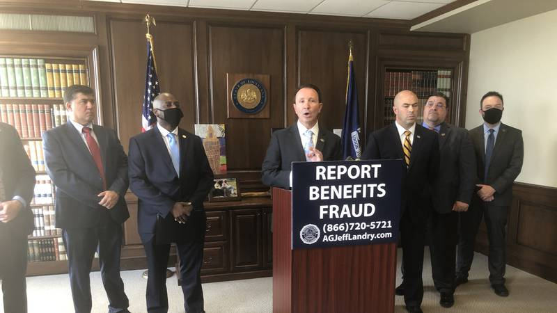 Attorney General Jeff Landry says five people in Louisiana have been arrested for defrauding...