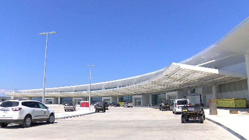 Airport officials say airport scheduled to open in fall.