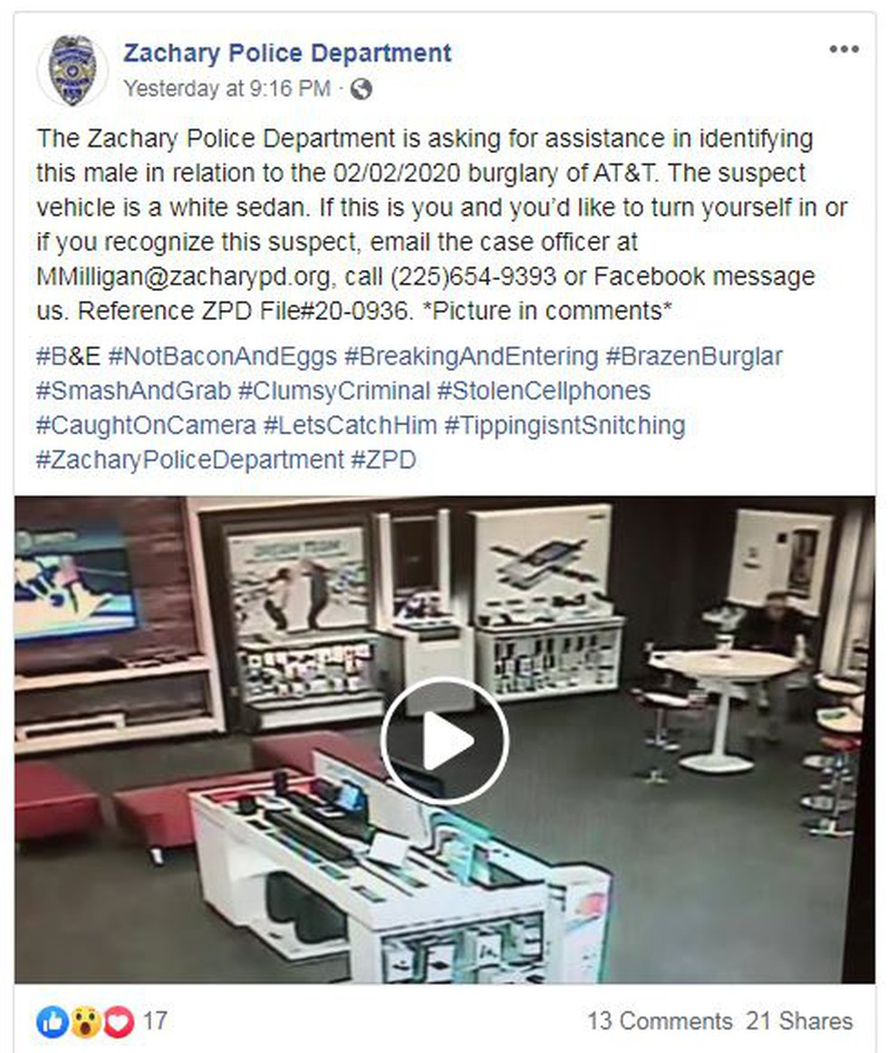 The Zachary Police Department frequently uses colorful hashtags in its posts on Facebook.