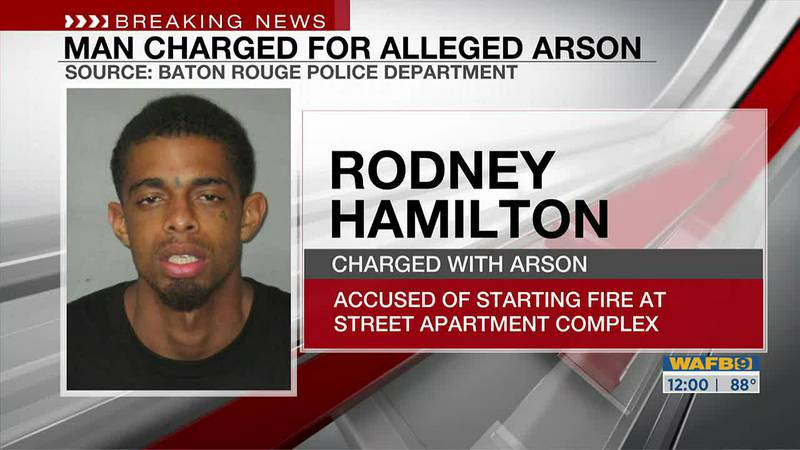 Rodney Hamilton has been arrested on one count of aggravated arson and one count of terrorizing.