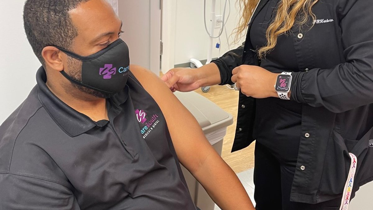 Vaccines being administered at CareSouth Clinic in Baton Rouge on January 7, 2021.