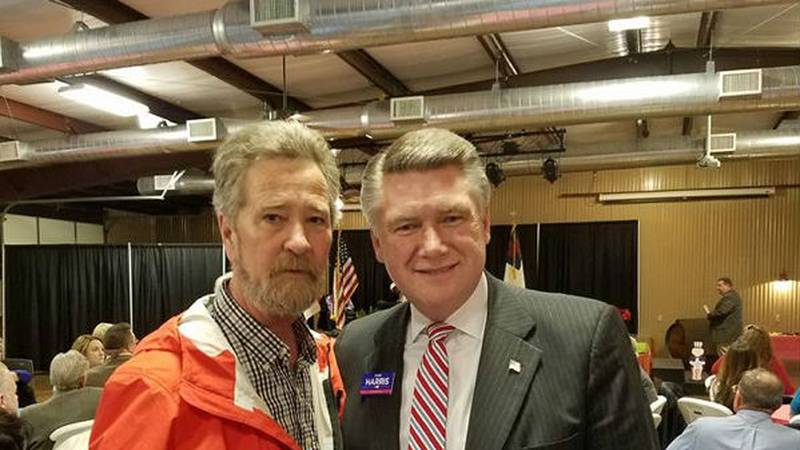 McCrae Dowless, left, and Mark Harris are pictured together at a dinner in Bladen County in...