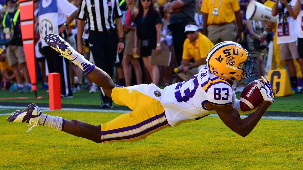 LSU wide receiver Russel Gage Jr. (83) catches a touchdown pass against Auburn on Oct. 14, 2017.