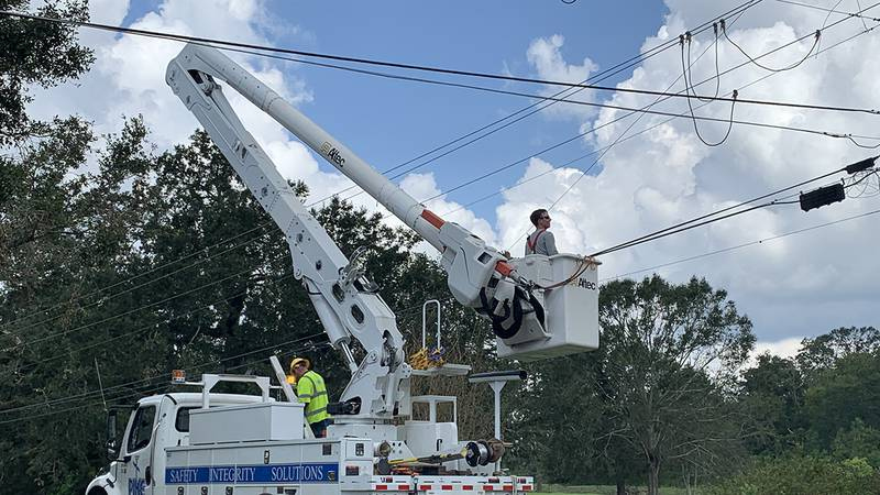 Utility crews were out in Ascension Parish on Wednesday, Sept. 1, working to restore...