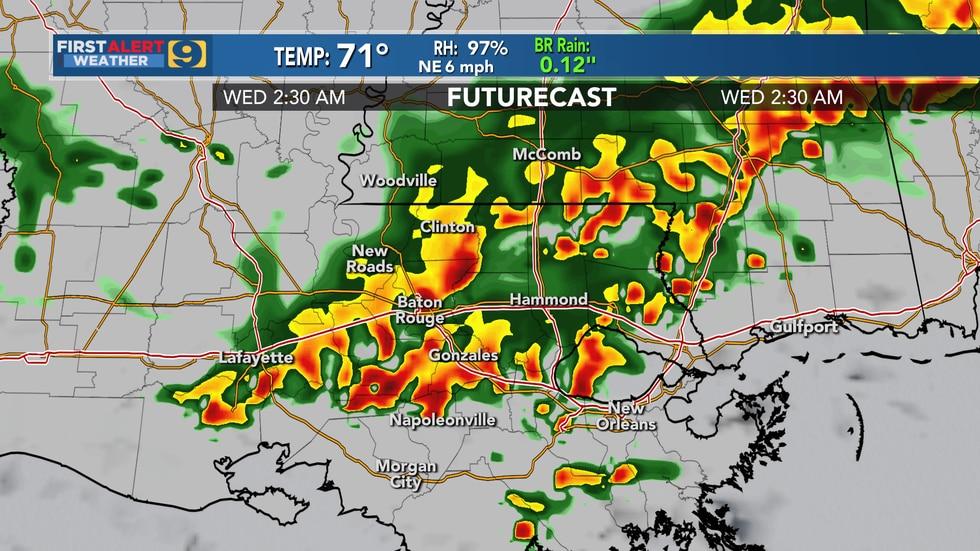 Futurecast shows expected storms around 2:30 a.m. Wednesday.