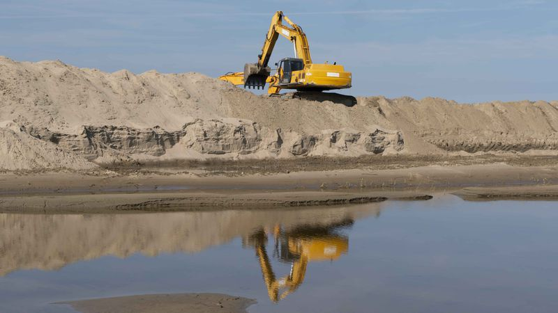 Contractors work to clear Mississippi River sediment deposited in the Bonnet Carre Spillway...