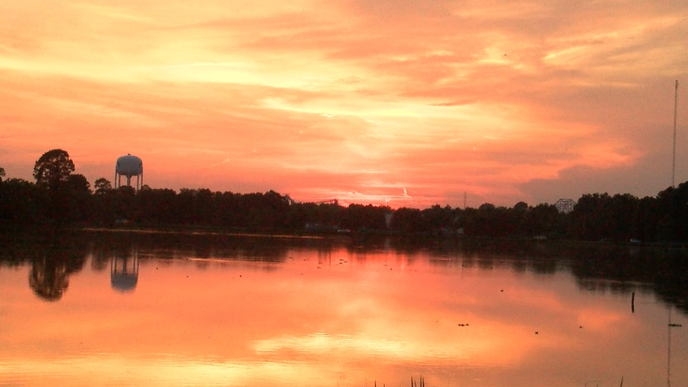 The setting sun created beautiful scenery that was reflected in the waters of University Lakes.
