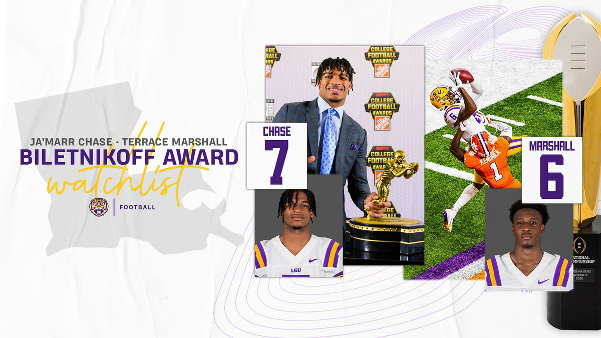 Ja'Marr Chase and Terrace Marshall named to the Fred Biletnikoff Award watch list