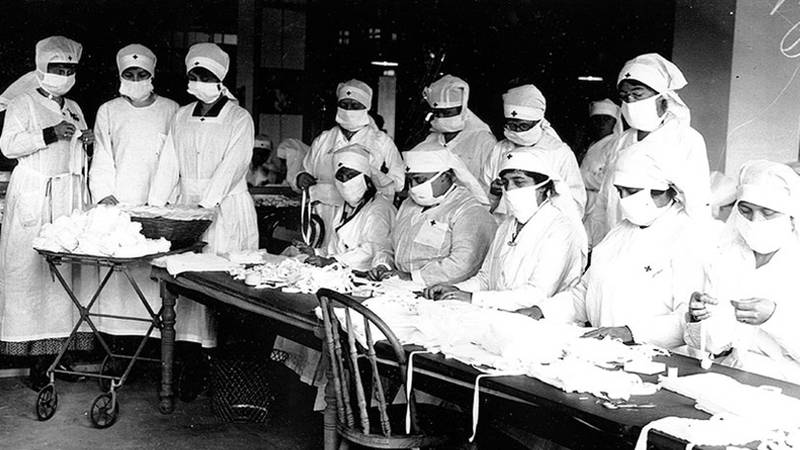Red Cross station set up in Boston during the 1918 Flu Pandemic
