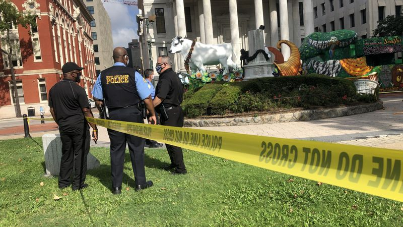 Someone toppled the bust on the John McDonogh statue overnight between Thursday and Friday.