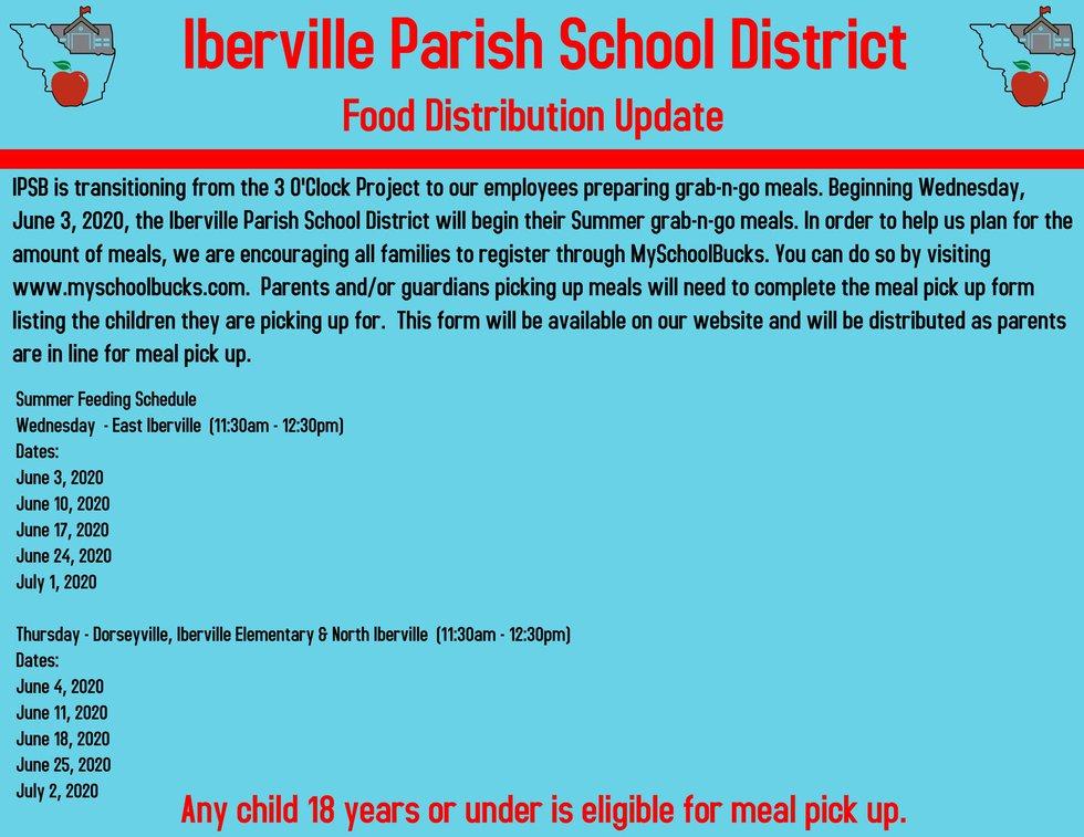 Iberville Parish School District Food Distribution Update June 2, 2020