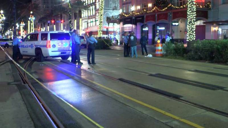 Corner of Canal and Bourbon after violent shooting