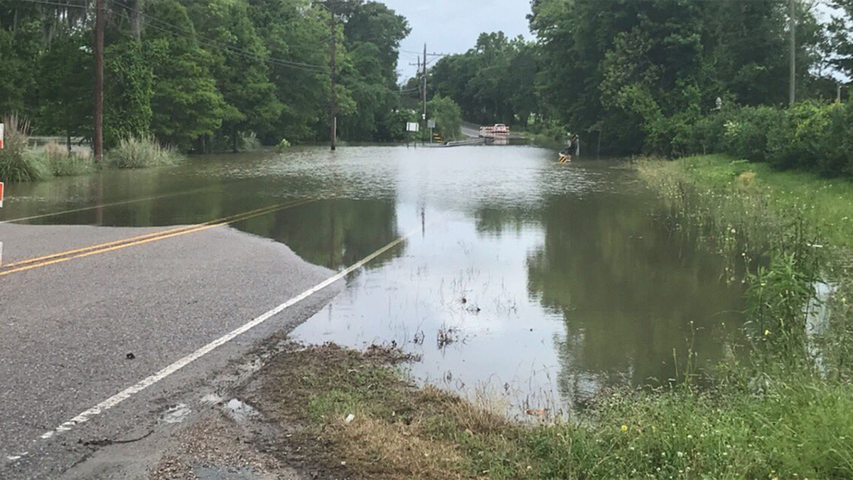 The bridge at Bayou Manchac on Perkins Road is closed due to flooding.
