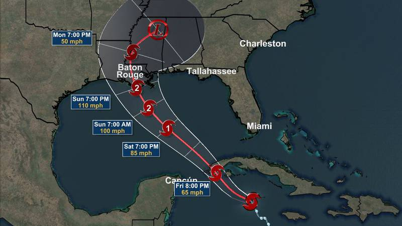Tropical Storm Ida Forecast Track - August 27, 2021 at 1 a.m.