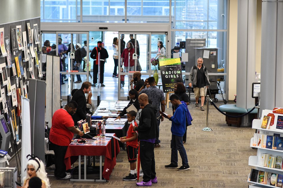 Attendees bustle through the Main Library during 2018's Micro-Con event
