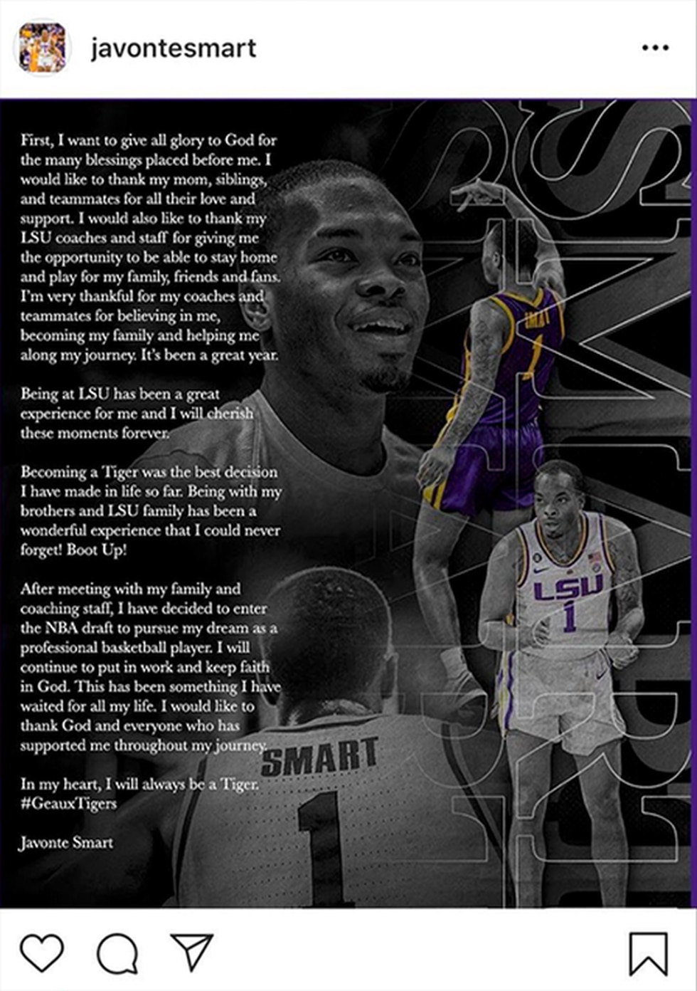 Javonte Smart declared for the NBA Draft on Instagram (Source: Instagram.com/JavonteSmart)