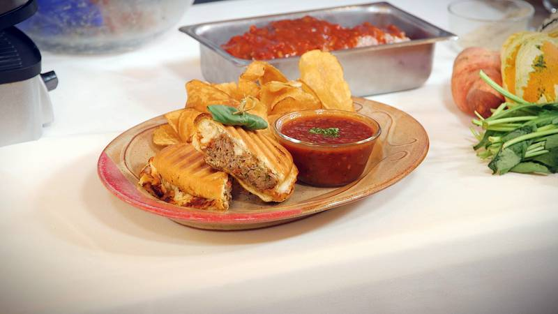 Try making this meatloaf panini for your next football party!