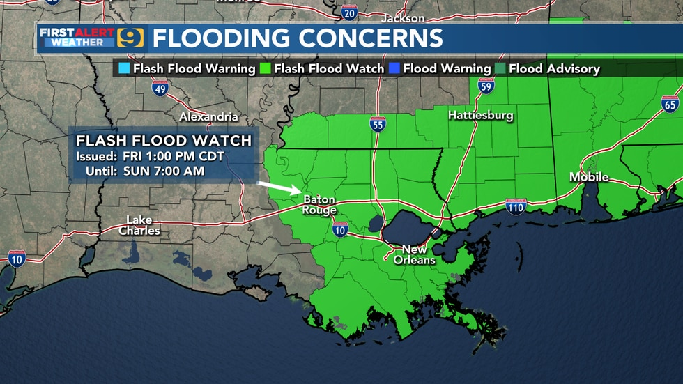 A Flash Flood Watch is in effect for the areas highlighted.