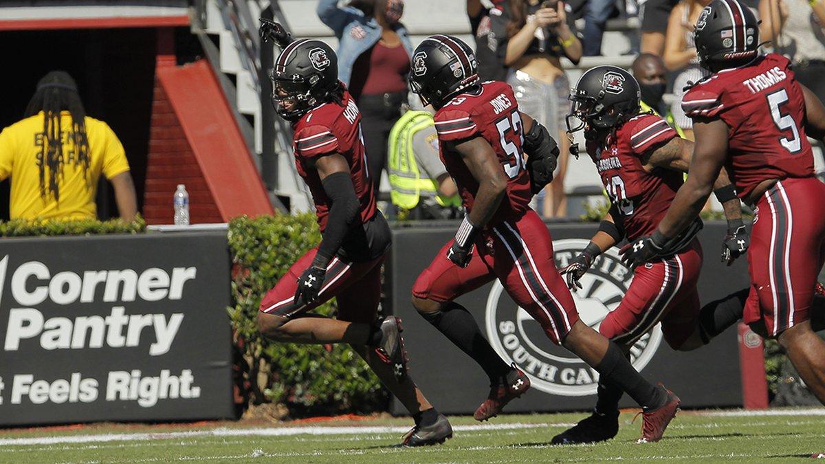 South Carolina cornerback Jaycee Horn (No. 1) and some of his defensive teammates celebrate...