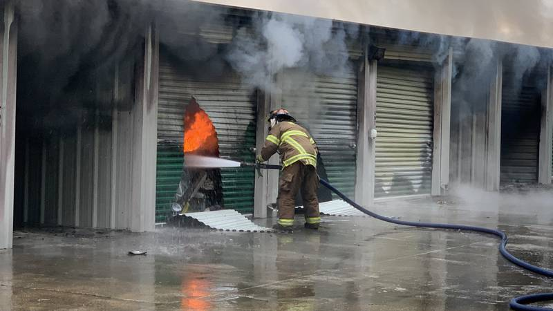 At least 50 units were destroyed at Life Storage on Harding Boulevard Tuesday morning.