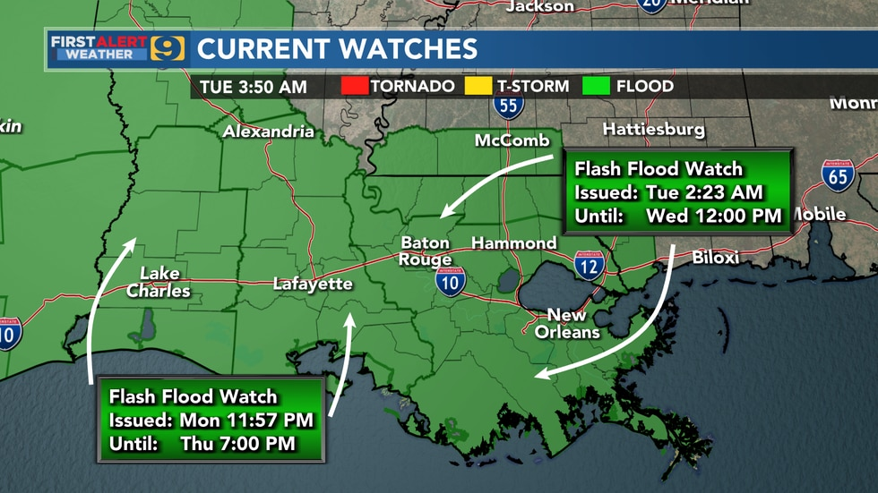 Flash Flood Watches are in effect for much of Louisiana.