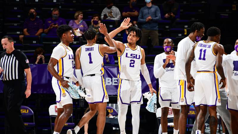 During a game at PMAC on January 30, 2021 in Baton Rouge, Louisiana. Photo by: Gus Stark