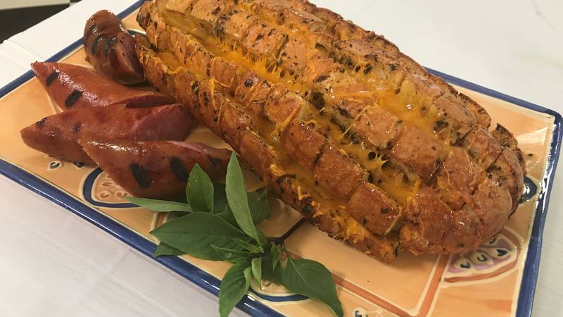 Cheddar and sausage tailgate bread