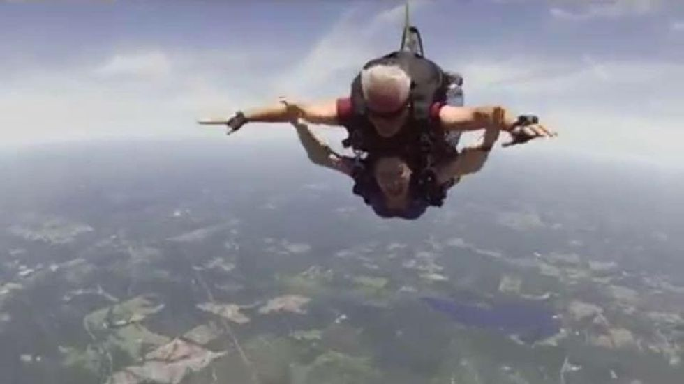 Jakie's medal went skydiving, zip-lining, and went to England (Source: WAFB)