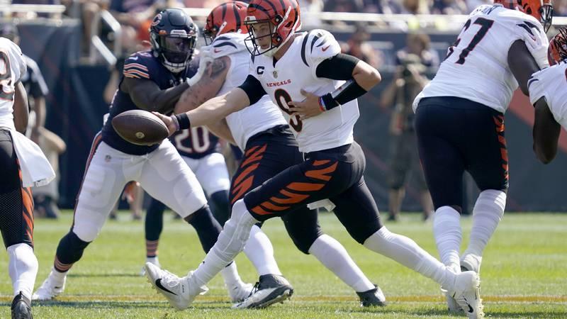 Cincinnati Bengals quarterback Joe Burrow hands the ball off during the first half of an NFL...