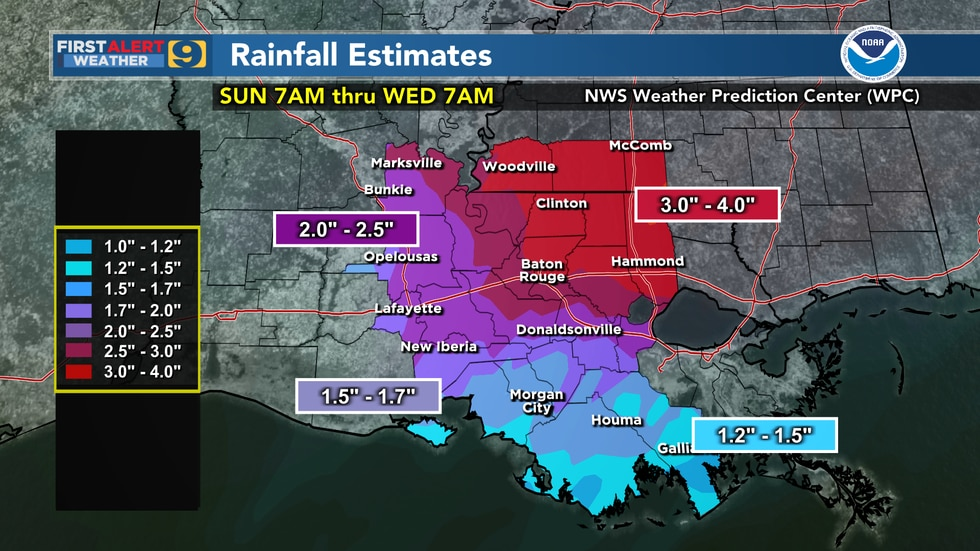 Rainfall estimates for south Louisiana from 7 a.m. Sunday, May 2, 20201 through 7 a.m....