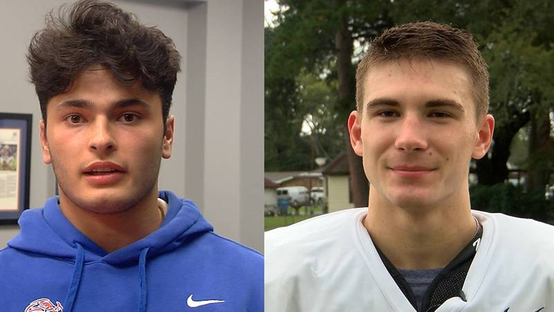 Parkview Baptist quarterback Roman Mula and Catholic Pointe Coupee athlete Matthew Langlois