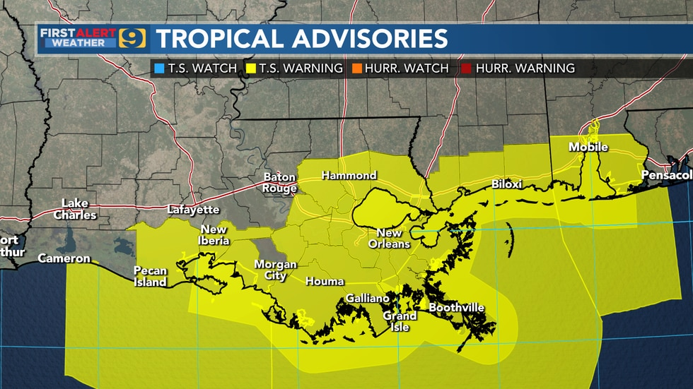 A Tropical Storm Watch is in effect for the highlighted areas.