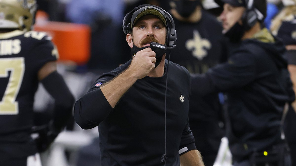 New Orleans Saints defensive line coach Ryan Nielsen during an NFL football game against the...