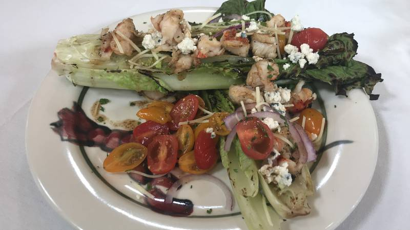 Grilled lobster and romaine sensation salad
