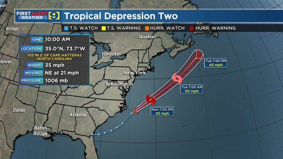 First advisory and forecast track for newly-formed Tropical Depression #2 as of 10 a.m. CDT...
