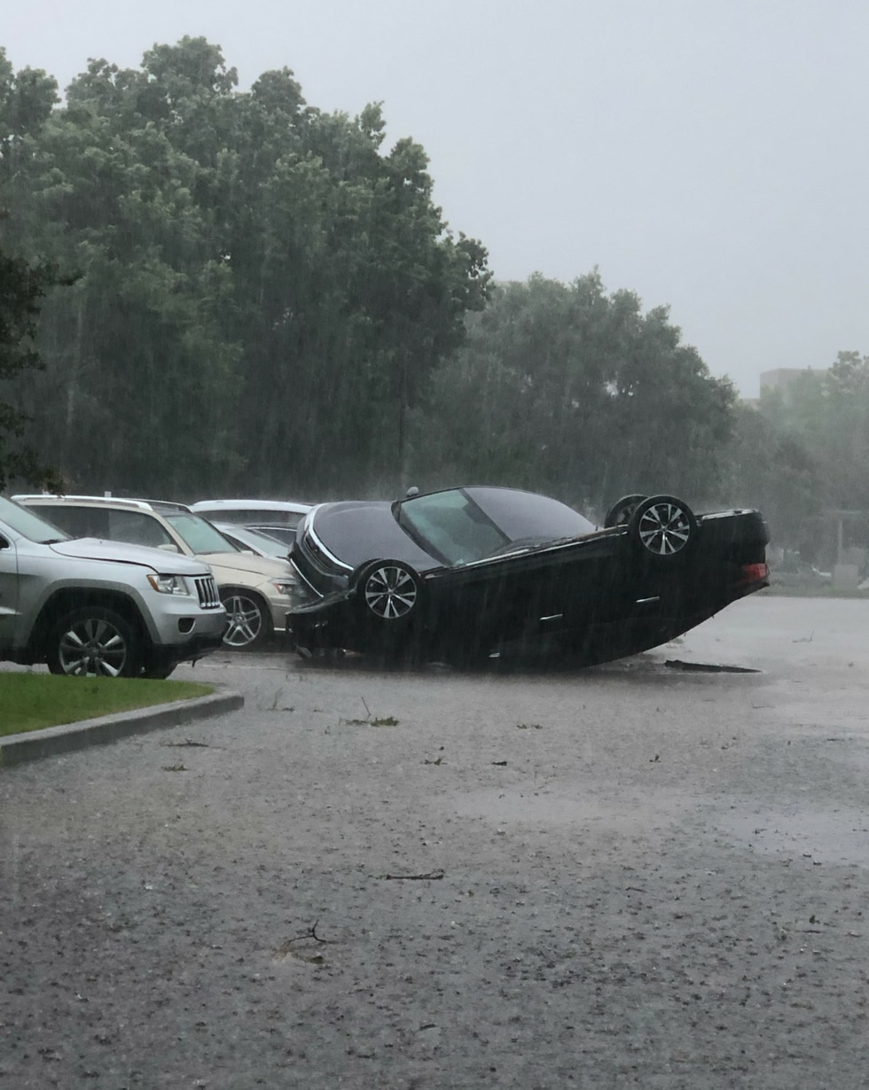 Cars were flipped in the parking lot at the Baton Rouge General.