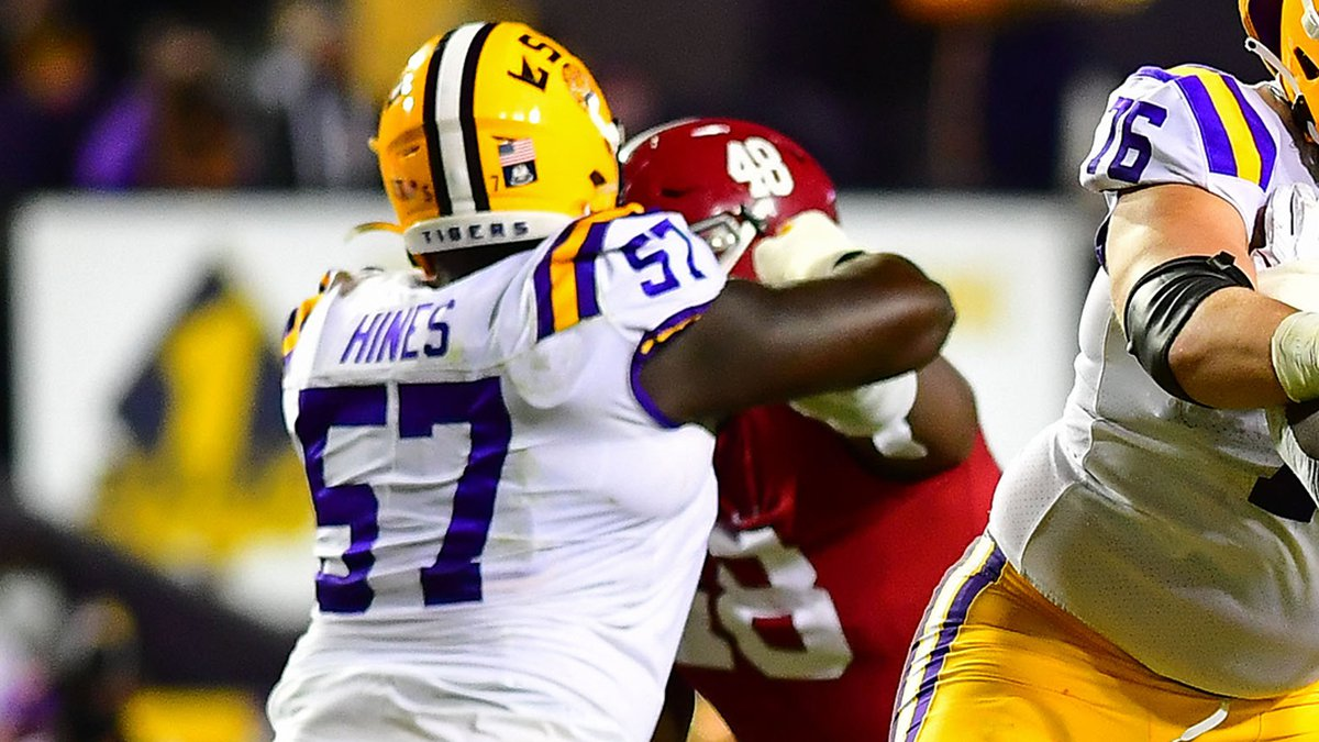LSU offensive guard Chasen Hines (57)