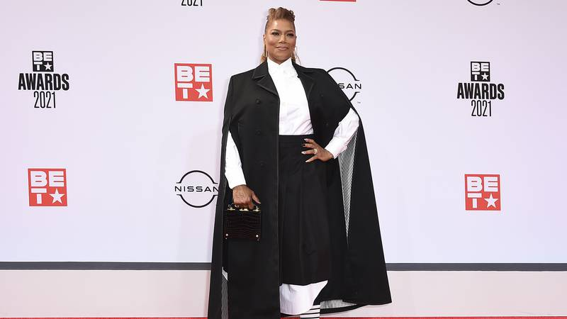 Queen Latifah arrives at the BET Awards on Sunday, June 27, 2021, at the Microsoft Theater in...