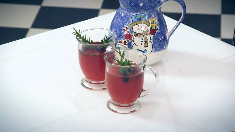 With the cider being red, and garnished with fresh green rosemary sprigs, it's the perfect...