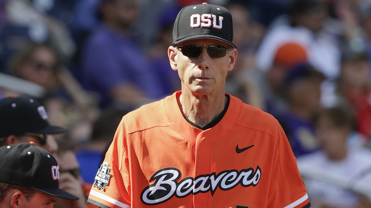 FILE - In this Saturday, June 24, 2017, file photo, Oregon State coach Pat Casey walks in front...