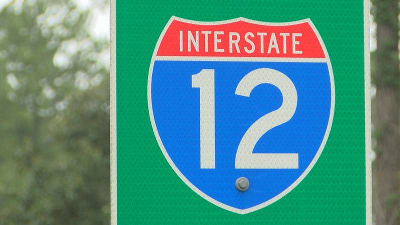 WAFB FILE photo of an I-12 road sign