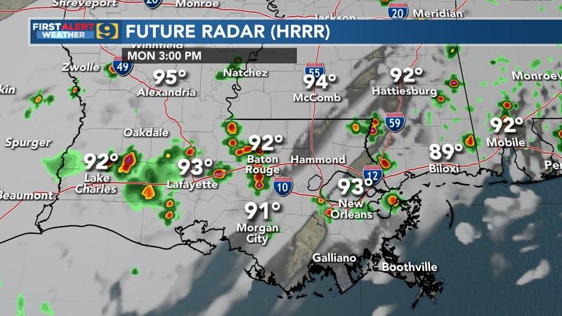 Future radar for Monday, August 9.